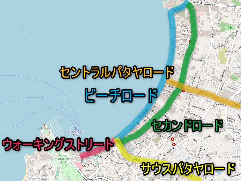 パタヤビーチロードのマップ