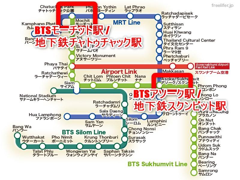 バンコク中心部の路線図モーチット駅からアソーク駅