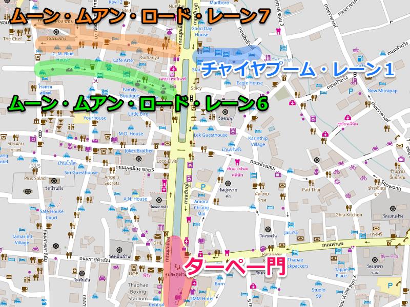 チェンマイのバックパッカー通り地図