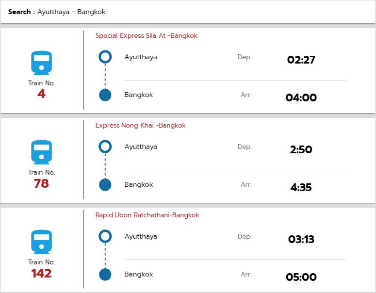 バンコク行き電車の時刻表