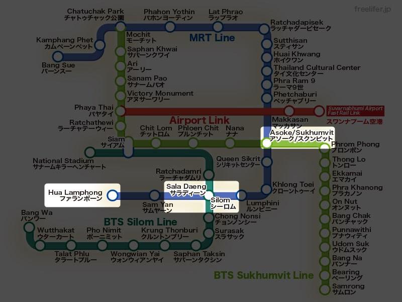 地下鉄ファランポーン駅とバンコク中心部の駅