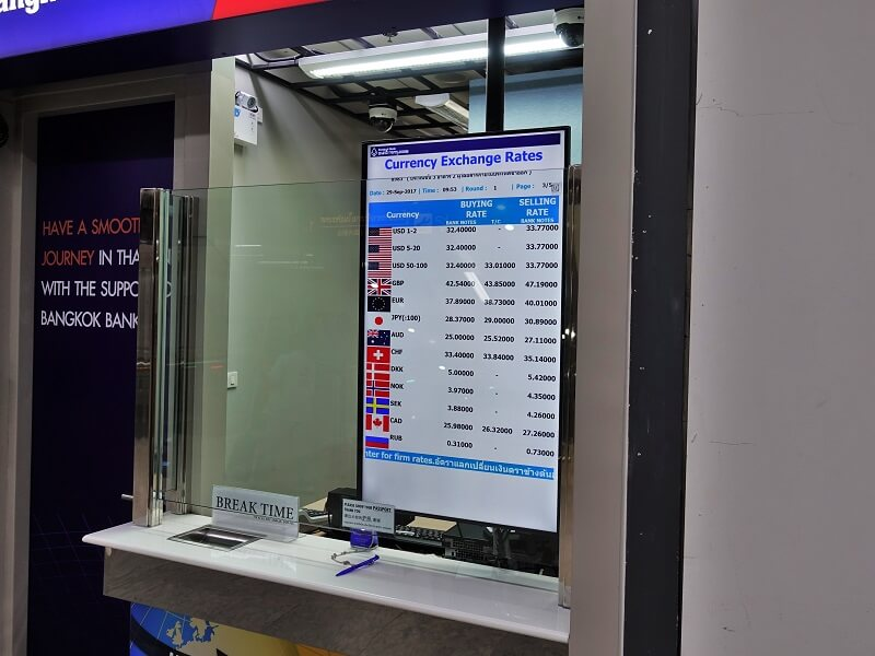 ドンムアン空港で営業しているバンコク銀行の両替所