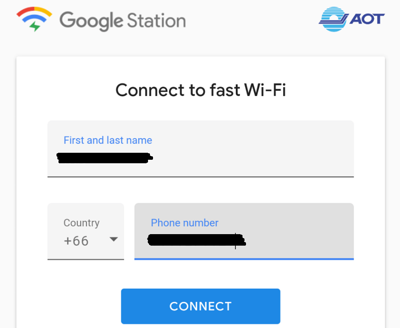 free airport-google wifi by cat connectingの名前と電話番号入力