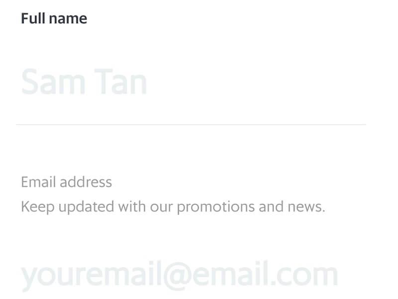 Grabで名前とメールアドレスを登録する