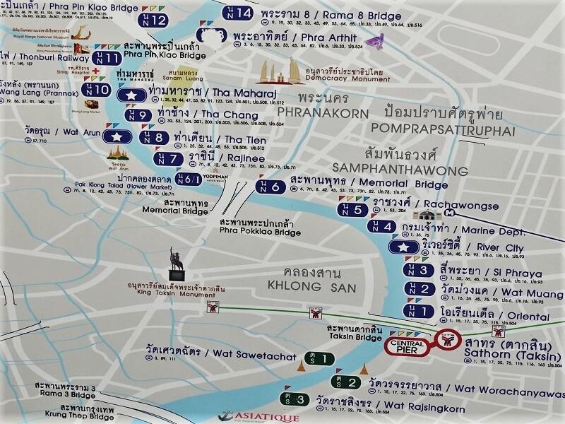 チャオプラヤーボート中心部の埠頭マップ