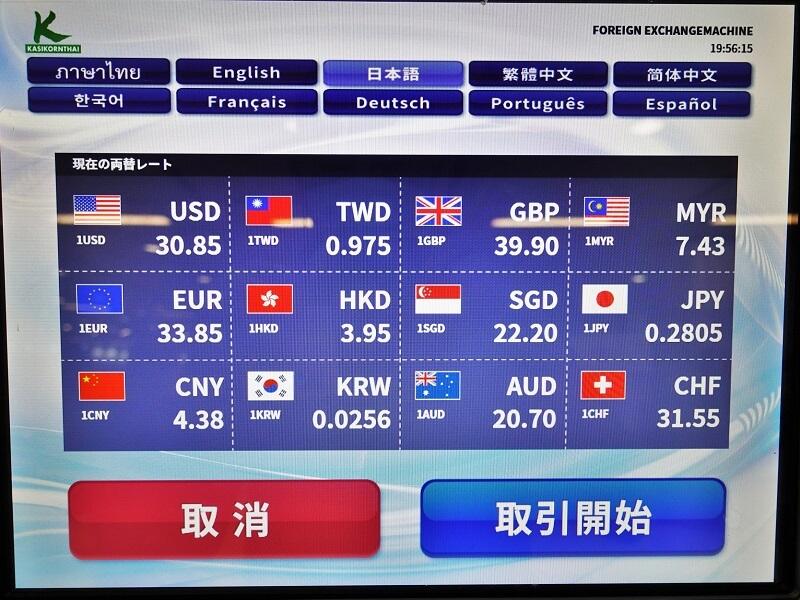 カシコン銀行の外貨両替機の為替レート