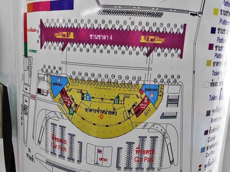 モーチットバスターミナルのパタヤ行きバス乗り場地図