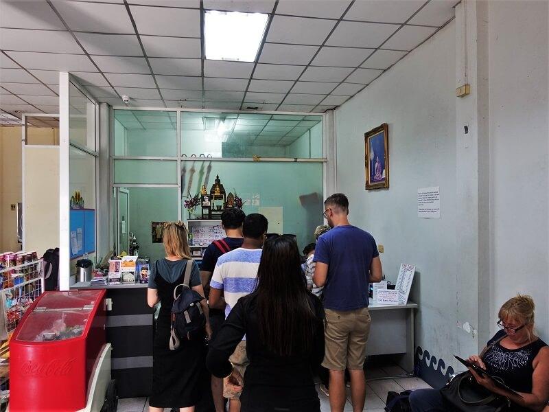 ジョムティエンビーチ発のパタヤからバンコク行きバスのチケット売り場